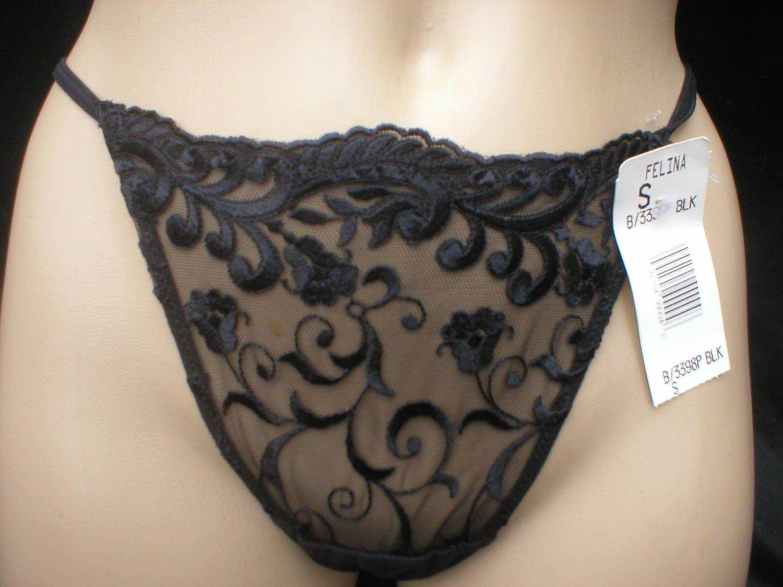 Felina Black Mesh & Lace Sheer Thong Panty 3398P S NWT