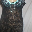 Donna L'Oren Black & Blue Satin & Lace Short Sleep Dress L NWOT