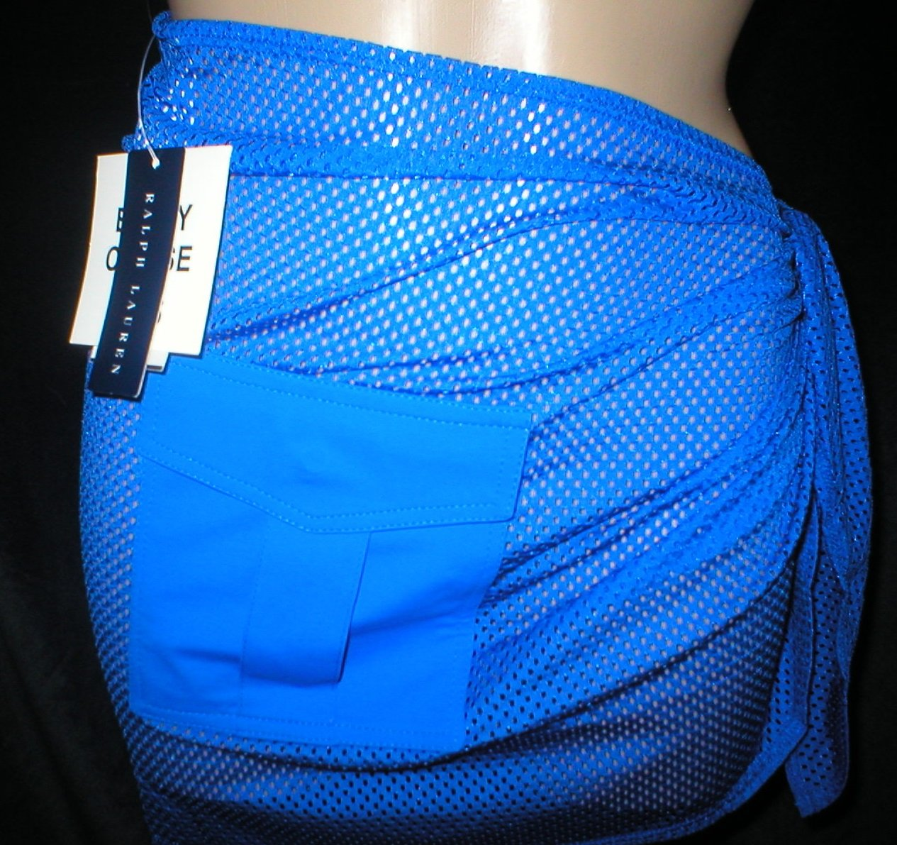 Ralph Lauren Blue Sheer Fishnet Swimsuit Cover Wrap Skirt M NWT