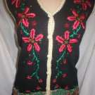 Segue Noel Black Patterned Print Knit Christmas Vest L