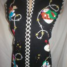 Studio Joy Black Festive Print Knit Snowman Christmas Vest XL