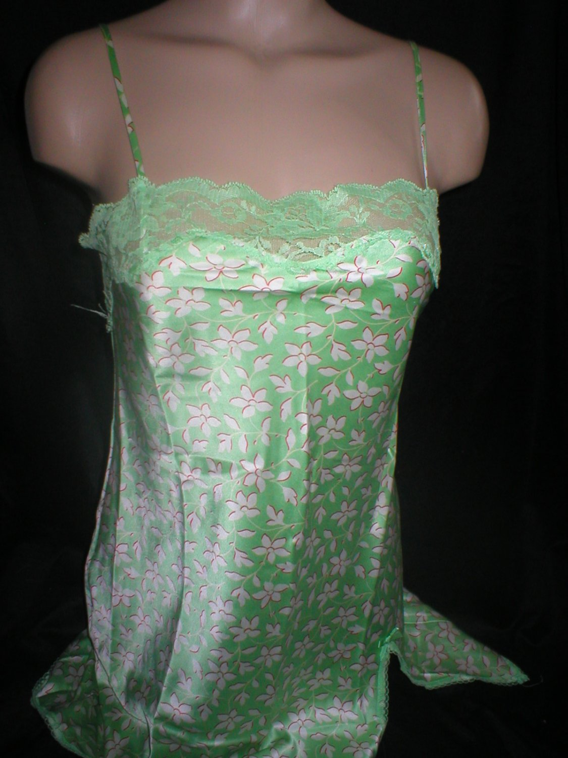 Victoria's Secret Angels Green Floral Satin Short Sleep Dress XS NWOT