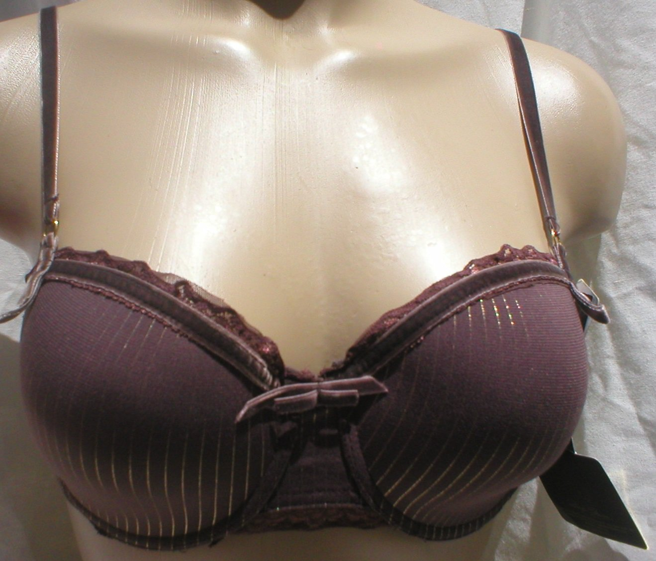 Marilyn Monroe Brown & Gold Striped Contour Bra 36C NWT