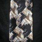 Pierre Cardin Men's Black & Brown Silk Print Tie