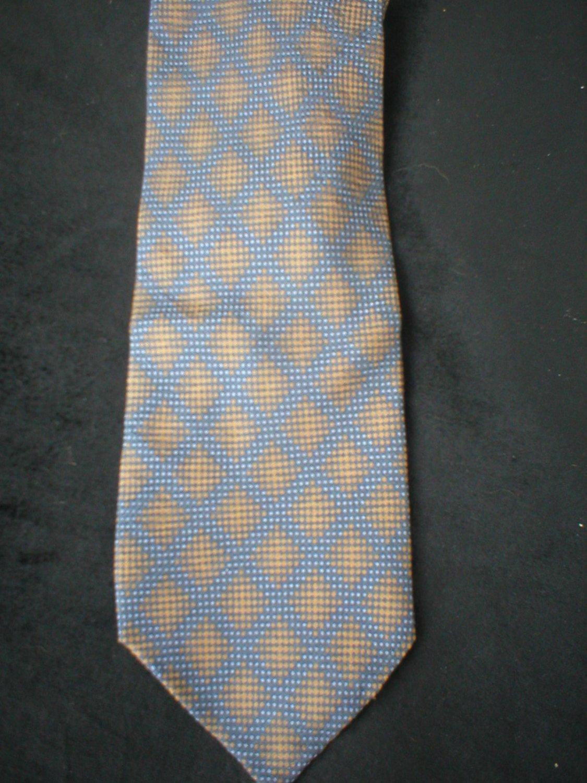 Calvin Klein Men's Blue & Taupe Diamond Print Silk Tie