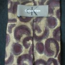 Calvin Klein Men's Brown & Burgundy Print Silk Tie