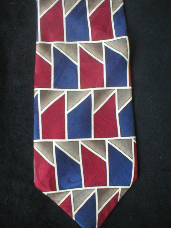 Pattinni Collection Red, Blue, Taupe, Tan Print Silk Tie