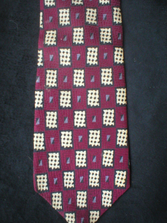 Bill Blass Men's Red, Tan, Black, Gray Checker Print Silk Tie