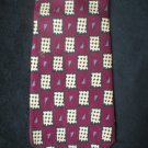 Bill Blass Men's Red, Tan, Black, Gray Checker Print Silk Tie