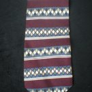 Claiborne Men's Burgundy, Gray, Tan Diamond Stripe Silk Tie