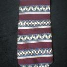Claiborne Men's Burgundy, Gray, Tan Diamond Stripe Silk Tie