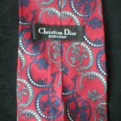 Christian Dior Men's Red, Blue, Gray, White Print Silk Tie