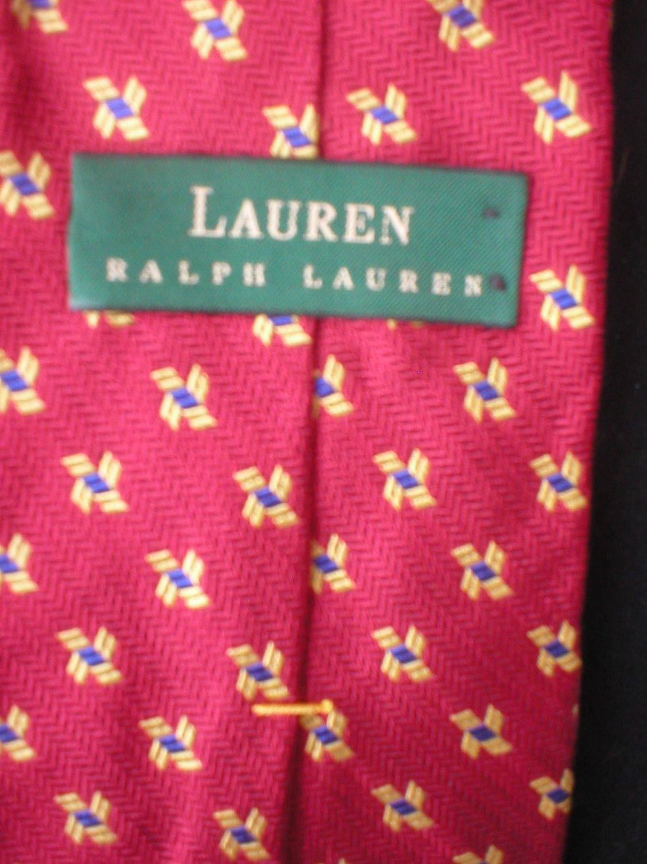 Ralph Lauren Men's Red, Yellow, Blue Print Silk Tie