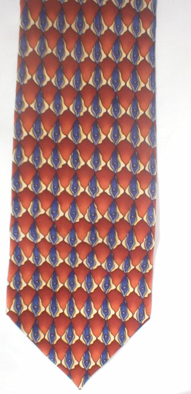 J. Garcia Grateful Dead Megalith Rust, Blue, Tan Silk Men's Business Tie