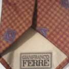 Gianfranco Ferre Gold, Red, Blue Print Silk Men's Business Tie