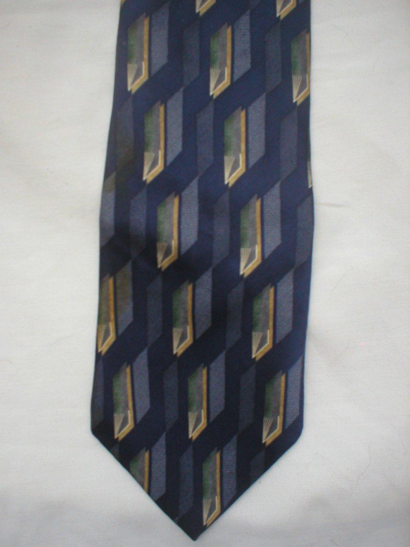 Pierre Cardin Blue, White, Tan Print Silk Men's Business Tie