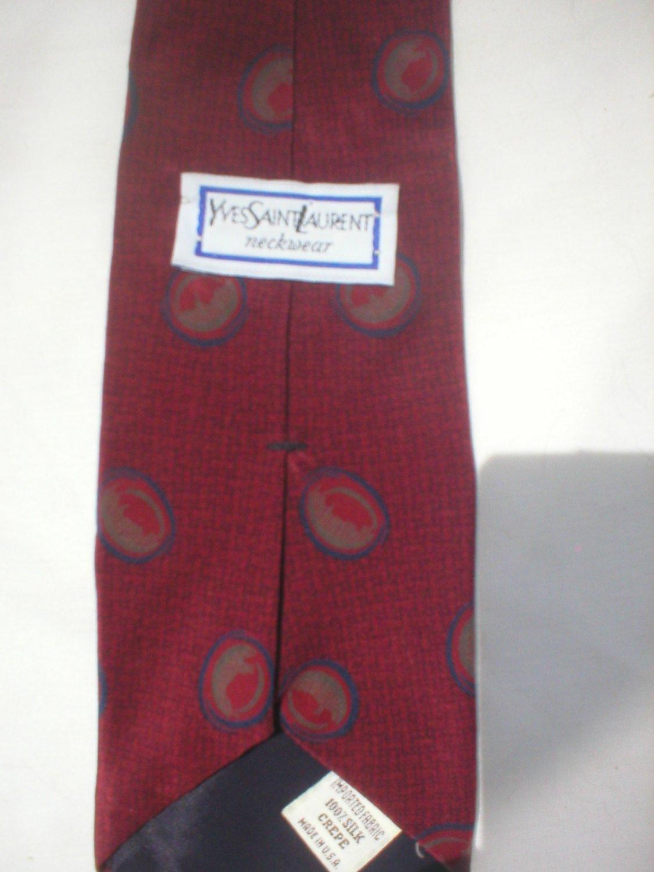Yves Saint Laurent Red, Blue, Taupe Print Silk Men's Business Tie