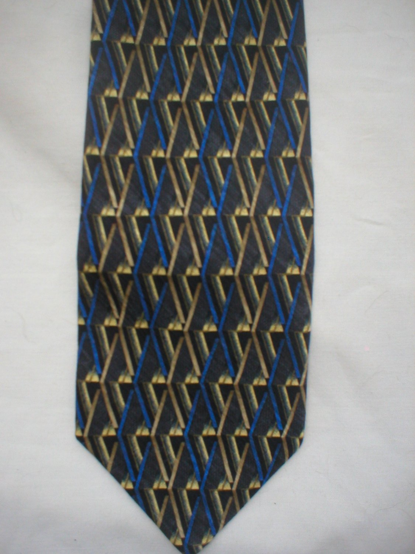 Tesoro Roso Blue, Gray, Gold Print Silk Men's Business Tie