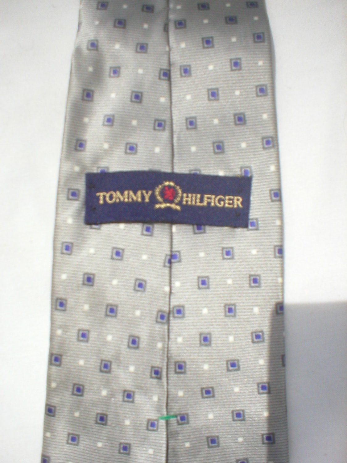 Tommy Hilfiger Gray & Blue Square Print Silk Men's Business Tie