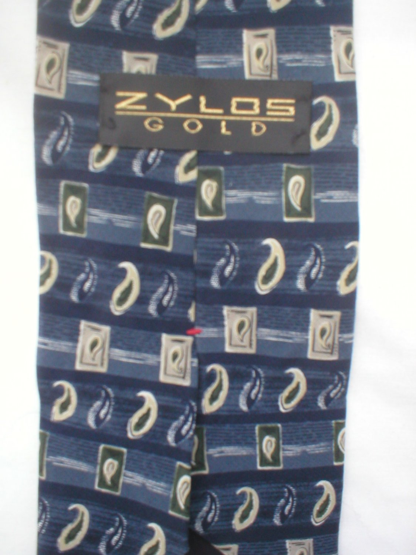 Zylos Blue & Tan Print Silk Men's Business Tie