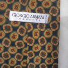 Giorgio Armani Blue & Tan Print Silk Men's Business Tie