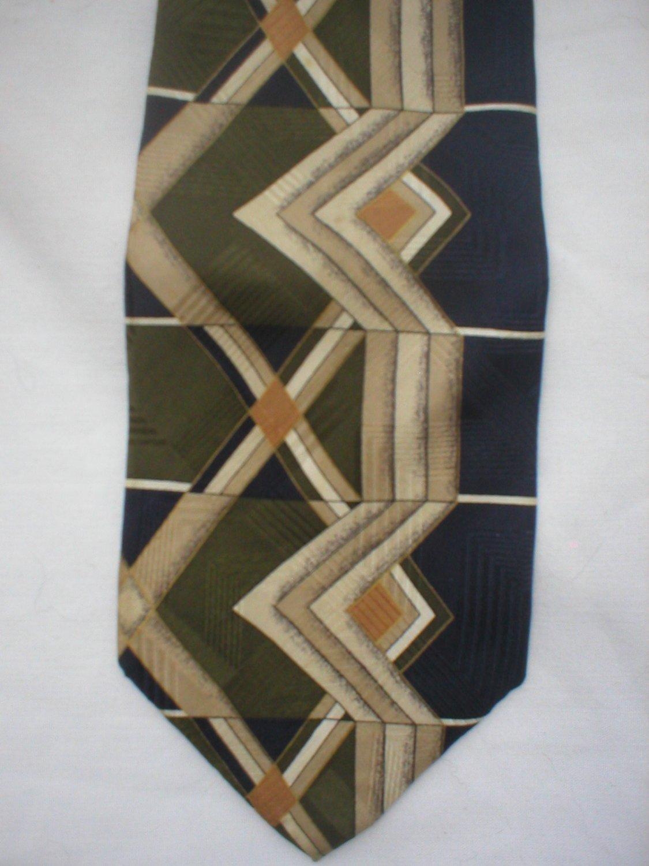 Zylos Tan, Blue, Olive Geometric Print Silk Men's Business Tie