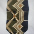 Zylos Tan, Blue, Olive Geometric Print Silk Men's Business Tie