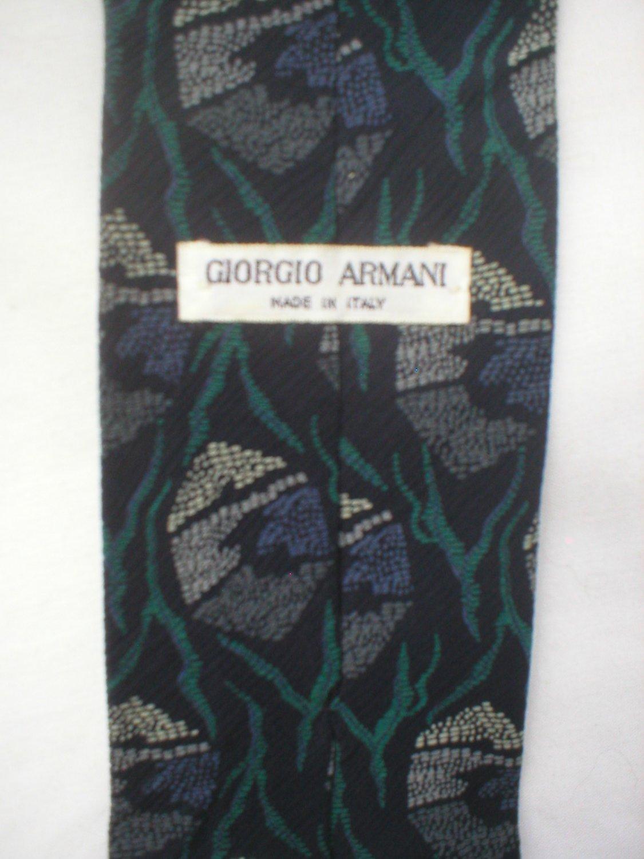 Giorgio Armani Blue, Gray, Green Print Silk Men's Business Tie