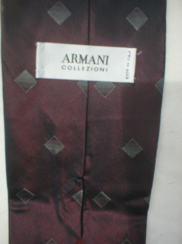 Armani Collezioni Red & Gray Diamond Print Silk Men's Business Tie