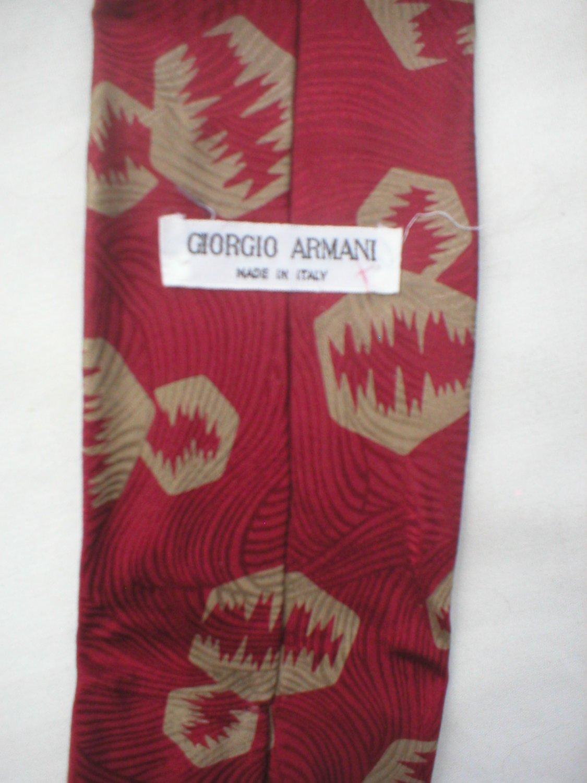Giorgio Armani Red & Taupe Print Silk Men's Business Tie