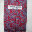 Giorgio Armani Red & Blue Print Silk Men's Business Tie
