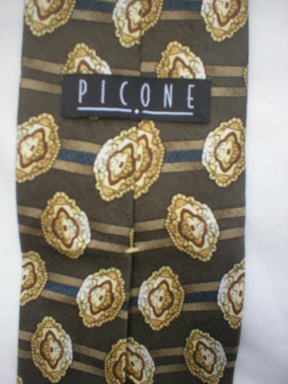 Picone Gray, Blue, Tan Print Silk Men's Business Tie