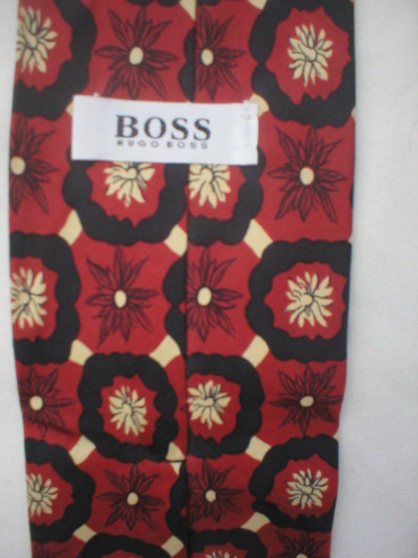 Hugo Boss Red, Black & Tan Print Silk Men's Business Tie