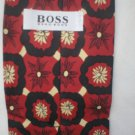 Hugo Boss Red, Black & Tan Print Silk Men's Business Tie