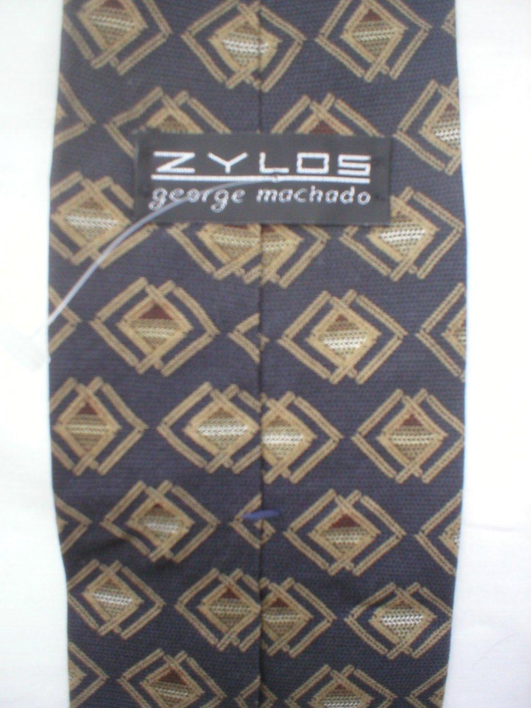 Zylos Gray & Taupe Print Silk Men's Business Tie