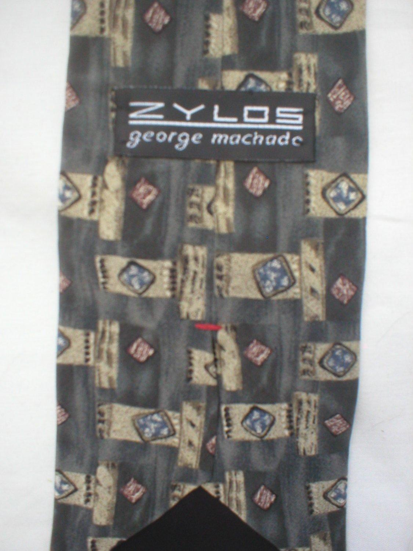 Zylos Gray, Blue, Tan Print Silk Men's Business Tie