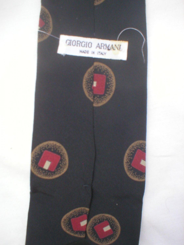 Giorgio Armani Black, Red, Taupe Print Silk Men's Business Tie