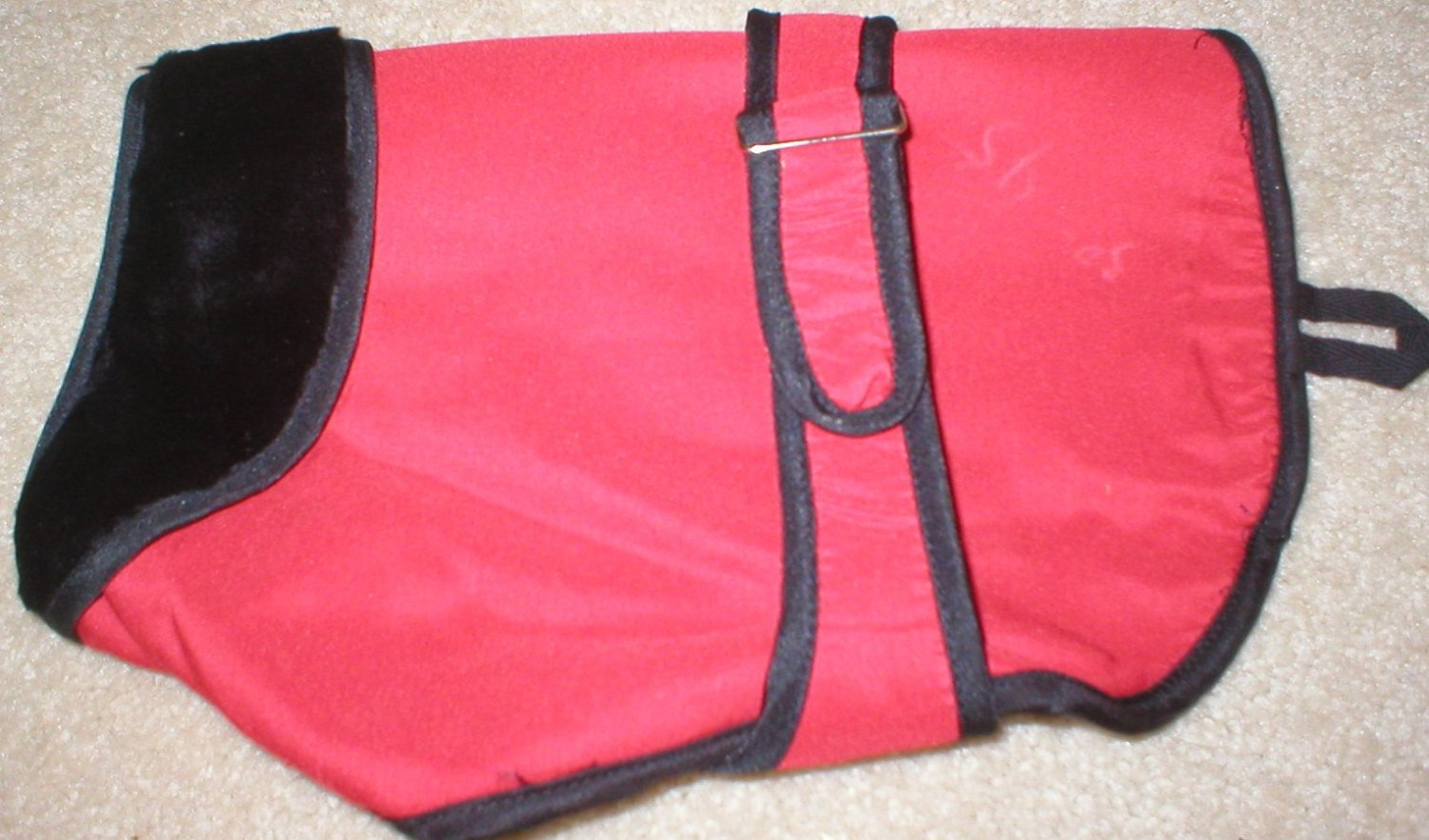 Pet Fripon Red & Black Fleece Lined Waterproof Dog Coat S NWT