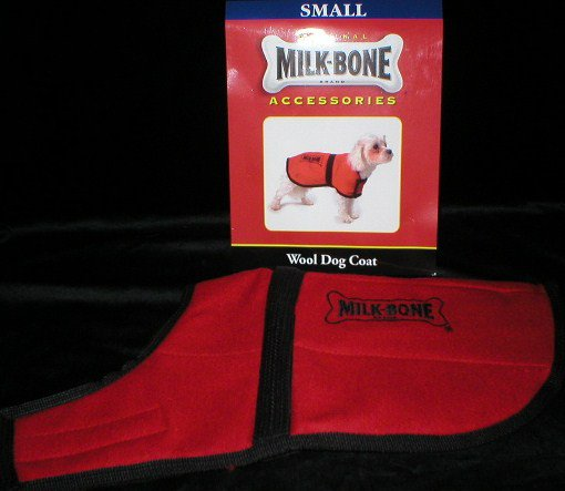 Milk Bone Red & Black Wool Dog Coat S NWT