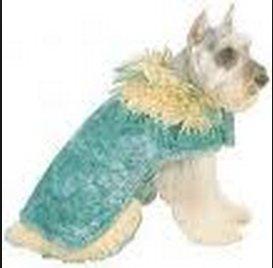Doggiduds Teal & Cream Faux Furious Dog Coat M NWT
