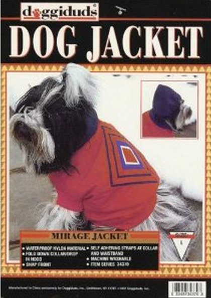 Doggiduds Red Mirage Dog Jacket L NWT