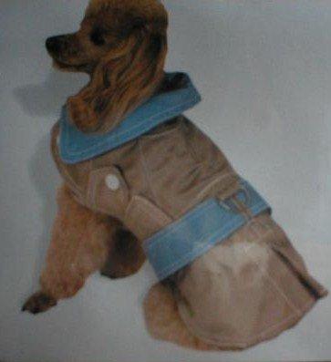 Doggiduds Tan & Blue Main Street Trench Dog Coat M NWT