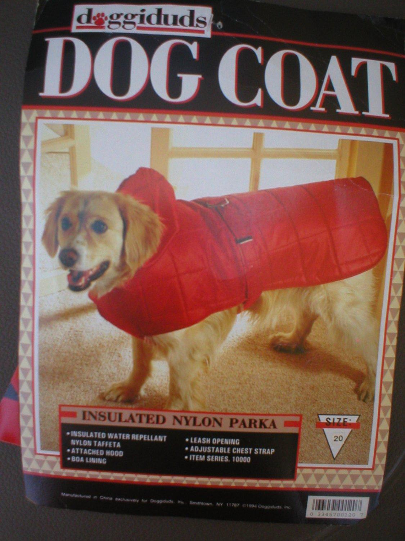 Doggiduds Red Insulated Nylon Parka Dog Coat M NWT