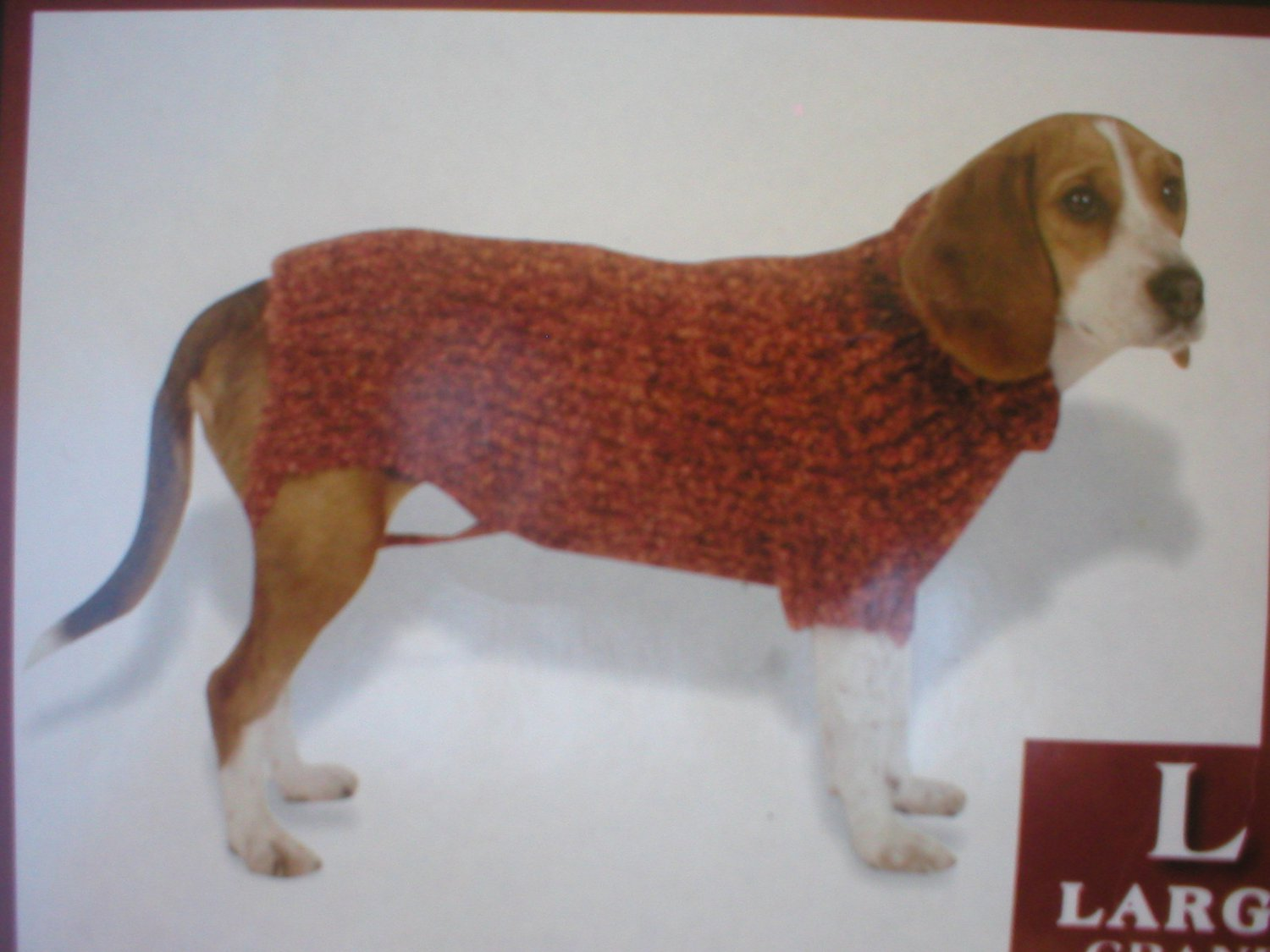 Vo Visionz Red Rust Nubby Loop Knit Dog Sweater L NWT