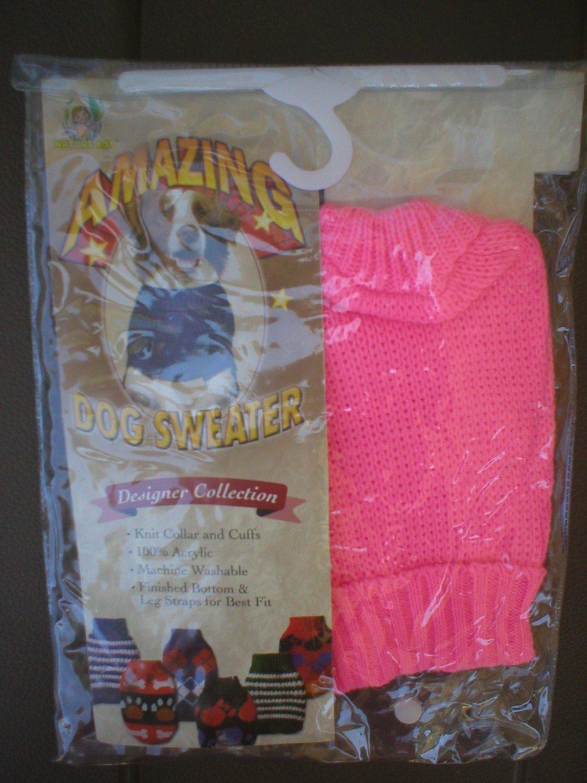 Nature Boy Hot Pink Knit Tricot Dog Sweater XS NWT