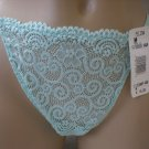 Felina Aqua Chantilly Lace Thong Panty D3398P M NWT