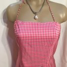 Ann Taylor Red & White Plaid Silk Knee Length Halter Dress 4