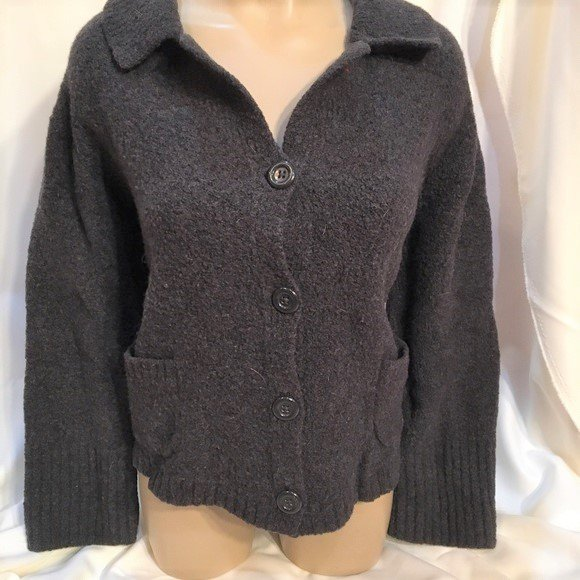 Banana Republic Dark Gray Button Front Knit Jacket M