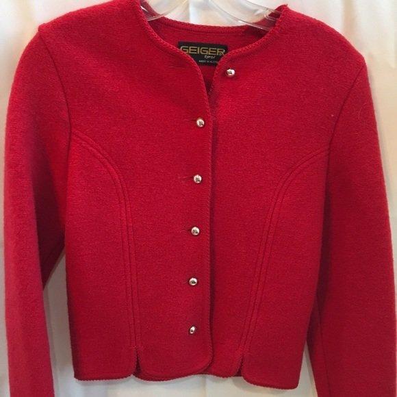 Geiger Red Wool Vintage Long Sleeve Crop Jacket 38 4