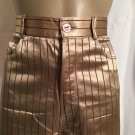 Vivien Caron Tan & Brown Striped Satin Pants 4